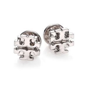 Tory Burch SILVER Classic T Logo Stud Earrings